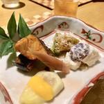 粋・丸新 - 八寸     梨とぶどうの白和え     イチジクの黄身酢     万願寺とうがらし     さわらの照り焼き     秋刀魚のお酢煮