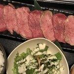 ホルモン食堂 - 料理写真:焼肉屋さんのボリュームランチ 上牛タン(7枚) ライス 味噌汁 サラダ 付(ライス少なめに変更)
