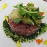 イカリヤ食堂 - 旬魚のタルタルと焼き茄子のマリネ 大葉のソース