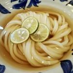 うどん工房悠々 - 秋刀魚ぶしの冷かけうどんアップ       麺と出汁が美しい!