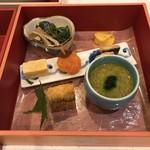 92842305 - 八寸:蘇、秋刀魚、玉子味噌漬け、蟹の茶碗蒸しなど