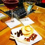 信州くらうど - 市田柿ミルフィーユとドライフルーツの盛り合わせと甘口ワインのマリアージュ
