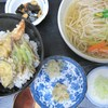 藤芳 - 料理写真:まんぷくランチ1200円日祝除く15:30まで・天丼のご飯一人前と麺は六割・麺一人前とご飯六割でも可・写真は麺一人前・そばうどん冷温選べます