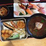 海鮮れすとらん 魚輝水産 JR平野駅前店 - 寿司串カツ定食♡¥1000