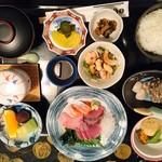 お食事処日本海 - お刺身膳(画像上下逆さまですみません)