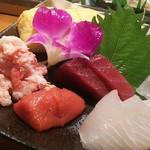 氣楽 - 刺身盛合せ  1500円  明太子・ヒラメ・縁側・マグロ・イカ
