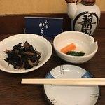 和食 かとう - 金目鯛西京焼御膳@2500円。小鉢とお新香が先に運ばれます。最近、小鉢が変わらないので、少し寂しい気がします