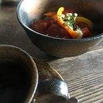 いろり屋 千樹 - 料理写真:ドリンク代のみのモーニングが、トマト蘭麺!