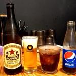 札幌 炎神 - 瓶ビール《サッポロ赤星》とペプシコーラ【Sep.2018】