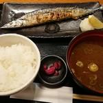 まるさ水産 - サンマの塩焼き定食(税込900円)