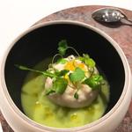 93003362 - 前菜①ズッキーニのスープ、根セロリのエスプーマ、オリーブオイル