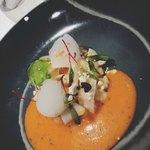 93003364 - 前菜②リゾット、卵黄のコンフィ、ピペラード?