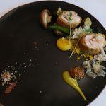 イル ギオットーネ - 鶏ロートロのパン粉焼き 黄ズッキーニのピュレ 夏野菜