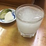 うなぎ 丸富 - シャーベット酒2 + お新香