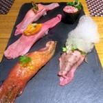牛たん 伊地知 - 肉寿司五貫おまかせ盛り¥1480