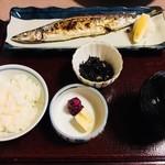 車屋 - 限定メニュー:秋刀魚焼き定食(1,100円)