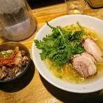 本丸亭 - 塩ラーメンの春菊増量とミニまんま丼
