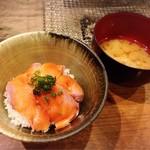 囲炉裏料理わ - 琵琶マス丼&琵琶マスのアラ汁♡