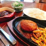 りべるた食堂 - ダブルハンバーグステーキランチ