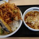 さん天 - 料理写真:炙り穴子のかき揚げと海老天丼、温うどん。