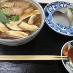 93155047 - 松茸うどんと鯖寿司のセット