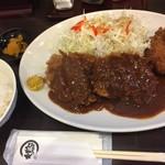 とんかつひろ喜 - 特選ヒレとんかつ&クリームコロッケ定食(¥1200)