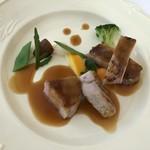 93180787 - 5周年特別記念ランチ…メイン料理(岩手県産リブポークのグリエ)