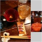 島人の宝 - 蛇口から泡盛飲み放題 1,000円(アセロラジュース/オレンジジュース)/お通し 500円 +税