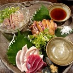 炭と日本酒 仁 - 鶏のお造り盛り合わせ♪ハーフ