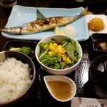 男爵亭 - 焼き秋刀魚定食