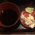 93201800 - 野菜天もり ¥390 のつゆ、薬味