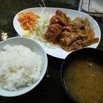 93208989 - 生姜焼き+唐揚げ定食 650円