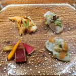 93213012 - 前菜盛合せ  鯵の中華風マリネ(山椒風味)、水ダコの葱生姜和え 胡麻ダレで、豆板醤風味の石垣貝、本鮪の紹興酒漬け