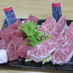 焼肉みよし - 米沢牛ロース:1250円、米沢牛ハラミ(限定):1250円