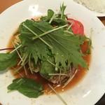 キッチン Oh!Way - アボカドのせハンバーグステーキ 醤油ソース。付け合わせの野菜が多かった('18/09/23)