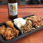 ASIAN TAWAN168 - 「3種盛り」700円&「シンハービール」500円(「スモーガスバーグさいたま新都心」)