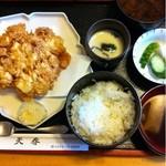天春 - かき揚げ定食。1,050円。エビと イカのかき揚げ。