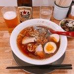 麺や七彩 - 味玉らーめん(煮干) 970円 ちゃーしゅー飯 200円 ビール(中瓶) 550円