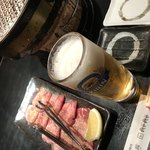 我や我や しちりんダイニング - 料理写真:ビールと牛タン