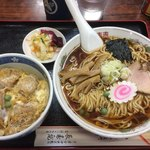 長寿庵 - 中華そば600円+ミニかつ丼450円−50円で、千円ちょうど