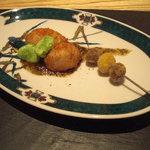 9328561 - 鯛の白子のフライに一寸豆の素揚げ、零余子と銀杏の串揚げ。