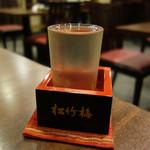 蕎麦おざき - 日本酒のサイズは、ミニグラスと1合があります。
