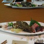 海の宝 - お造り(殻付き牡蠣、金目鯛、さより、絞めさば、はた)