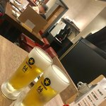 64餃子 - サッポロ生中¥500→¥250(外税)を1杯
