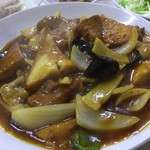 中華大千居 - 揚げ豆腐と肉野菜煮セット 揚げ豆腐と肉野菜煮アップ