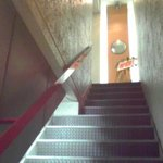 コックニーカフェ - ビルの2Fの入口付近を階段下から