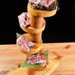 炉端 肉焼き処 猛伸 - 料理写真:ハラミタワー(厚切りハラミステーキ、塩ハラミ、ハラミの柚子胡椒焼き)