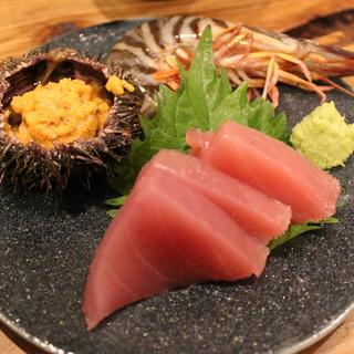 天然の地魚や旬のものを使った創作料理を【おまかせコース】で。