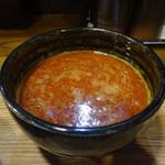 らぁめん三代目おかわり - 鶏白湯カレー坦々つけ麺のつけ汁