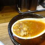 らぁめん三代目おかわり - 鶏白湯カレー坦々つけ麺のつけ汁の具